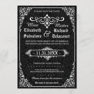 Black Gothic Victorian Damask Save the Dates Save The Date