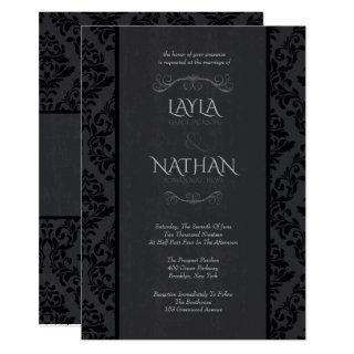 Black & Grey Damask Wedding Invitations