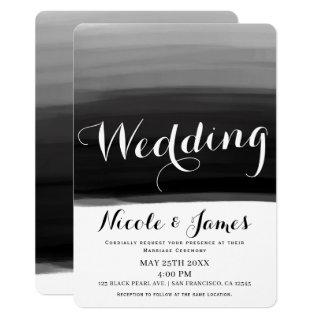 Black Grey White Watercolor Modern Glam Wedding Invitation