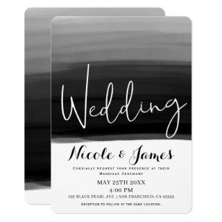 Black Grey White Watercolor Modern Glam Wedding Invitations