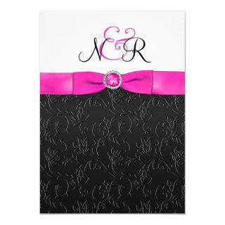 Black, Hot-Pink and White Monogrammed Invitations