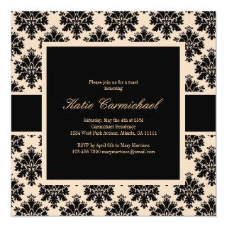 Black & Ivory Damask Invitations
