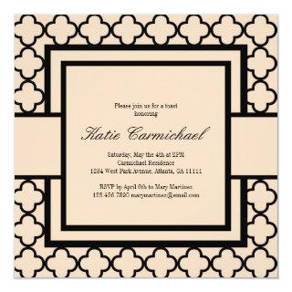 Black & Ivory Damask Invitation
