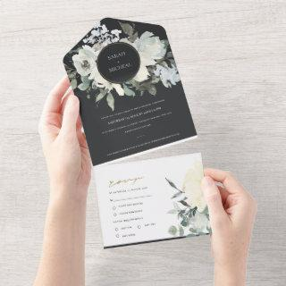 BLACK IVORY WHITE FLORAL WATERCOLOR BUNCH WEDDING  ALL IN ONE