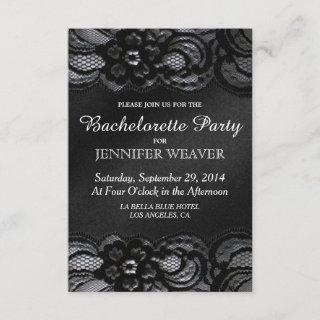 Black Lace and Satin Bachelorette Party Invitations
