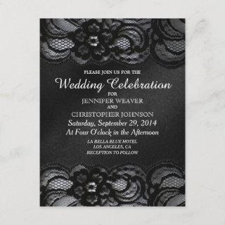 Black Lace and Satin Wedding Invitations