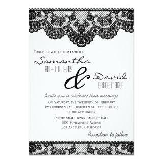 Black Lace and White Wedding Invitations