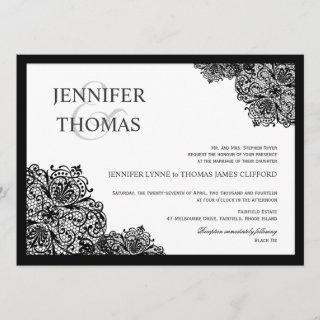 Black Lace Formal White Wedding Invitations