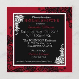 Black Lace Red Modern Goth Bridal Shower Invitation