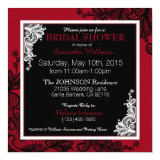 Black Lace Red Modern Goth Bridal Shower Invitations