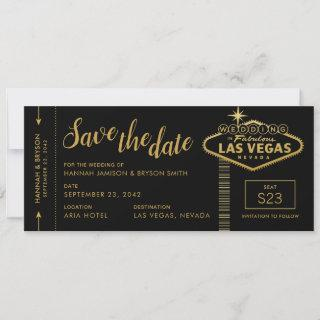 Black Las Vegas Boarding Pass Save the Date Card