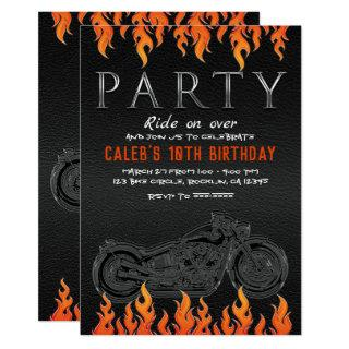Black Leather Orange Flames Motorcycle Biker Party Invitation