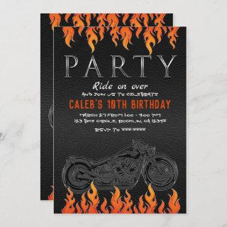 Black Leather Orange Flames Motorcycle Biker Party Invitations