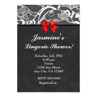 Black Leather & White Lace Lingerie Invitations