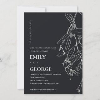 BLACK LINE DRAWING FLORAL WE TIED THE KNOT INVITE