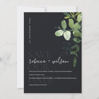 BLACK MODERN GREEN EUCALYPTUS FOLIAGE WATERCOLOR SAVE THE DATE
