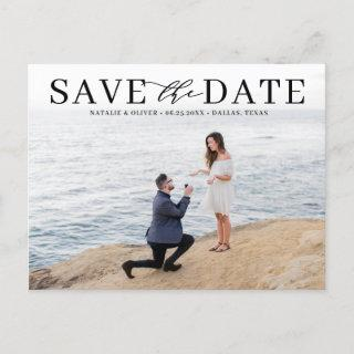 Black Modern Typography Photo Save the Date Announcement Postcard