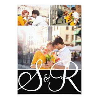 Black Monogram Wedding Three Photo Invitations