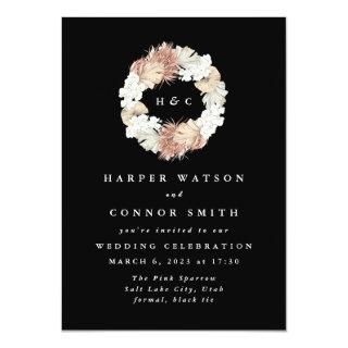 Black Monogram Wreath Pampas Grass Floral Tropical Invitations