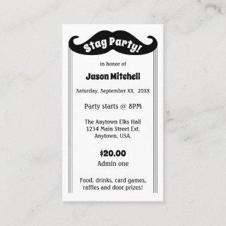 Black Mustache Stag and Bachelor Party Ticket
