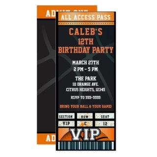 Black Orange Basketball Birthday Party VIP Ticket Invitation
