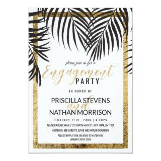 Black Palm Tree Fronds Gold Border Engagement Invitations