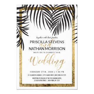 Black Palm Tree Fronds Gold Border Modern Wedding Invitations