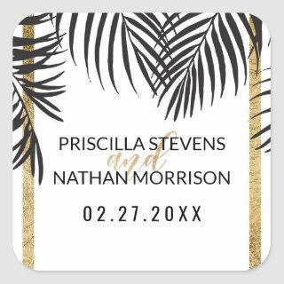 Black Palm Tree Fronds Gold Border Modern Wedding Square Sticker