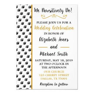 Black Paw Print Wedding Invitations