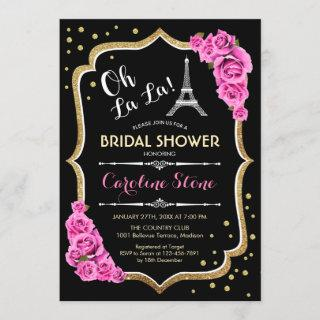Black Pink French Style Bridal Shower