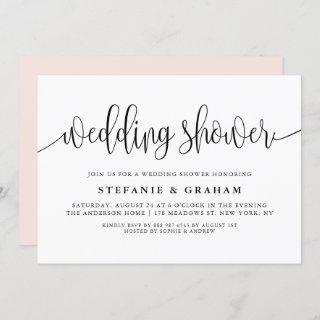 Black Pretty Calligraphy Wedding Wedding Shower Invitations