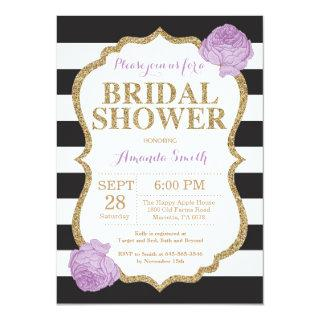 Black Purple and Gold Bridal Shower Invitation