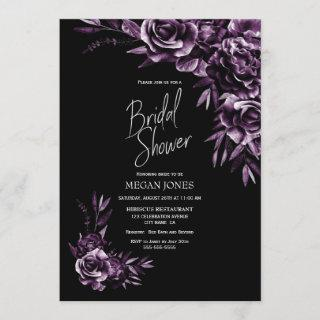 Black Purple Floral Bridal Shower Invitations