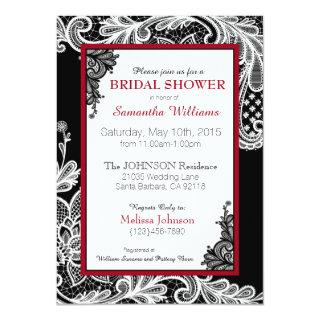 Black Red and White Lace Bridal Shower Invitation