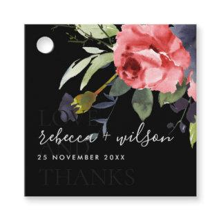 BLACK RED ROSE EUCALYPTUS FLORA WATERCOLOR WEDDING FAVOR TAGS