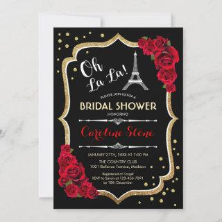 Black Red Roses French Style Bridal Shower Invitations