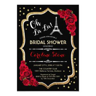 Black Red Roses French Style Bridal Shower Invitation