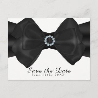 Black Ribbon Bow & Diamonds Elegant Save the Date Announcement Postcard