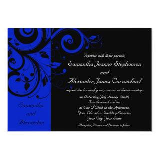 Black/Royal Blue Reverse Swirl Wedding Invitation