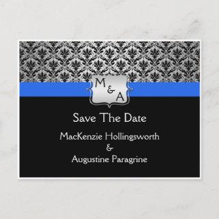 Black Royal Blue Silver Monogram Damask Save The D Announcement Postcard