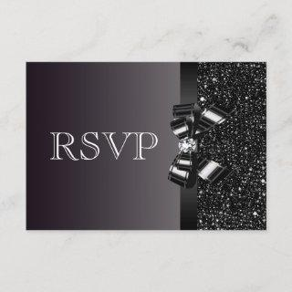 Black Sequins, Bow & Diamond RSVP Wedding