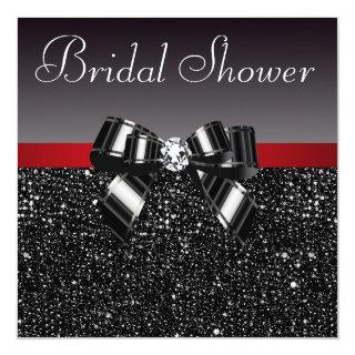 Black Sequins Diamond Bow Red Bridal Shower Invitation