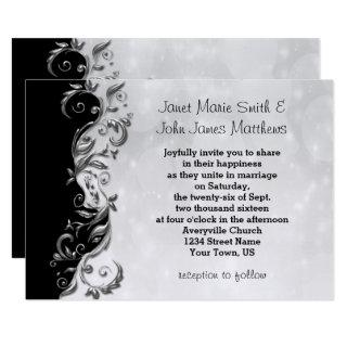 Black & Silver Floral Wedding Design Invitations