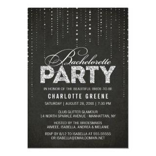 Black & Silver Glitter Look Bachelorette Party Invitations