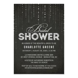 Black & Silver Glitter Look Bridal Shower Invitation