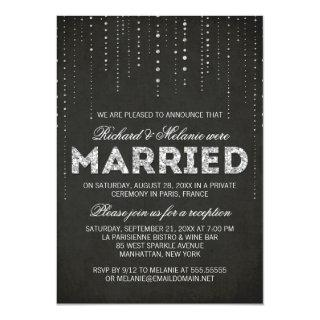 Black & Silver Glitter Wedding Reception Only Invitation