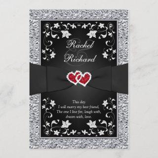 Black Silver Red Hearts, Floral Wedding