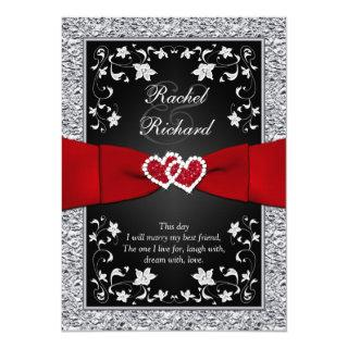 Black Silver Red Hearts, Floral Wedding Invitation