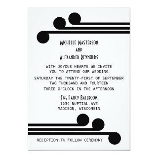 Black Simple Deco Chic Wedding Invite