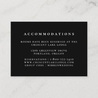 Black Solid Color Wedding Accommodations Enclosure Card